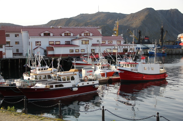Honningsvåg Harbor, view down the street from my gallery