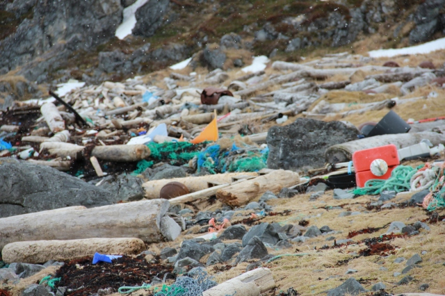 ocean pollution, debris on shore, nordkapp, norway