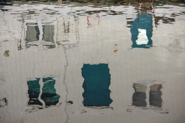 water, reflections, boat houses